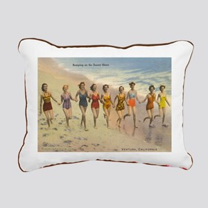 Vintage Ventura Beach Rectangular Canvas Pillow